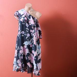 Eliza J One Shoulder Floral Chiffon Shift Dress